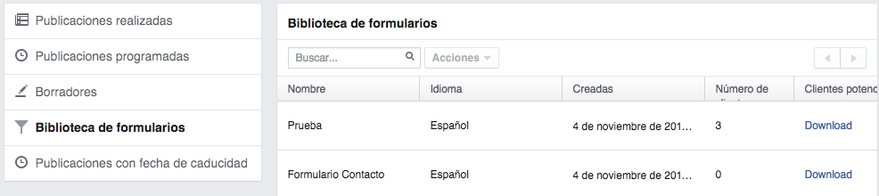 biblioteca formularios facebook leads