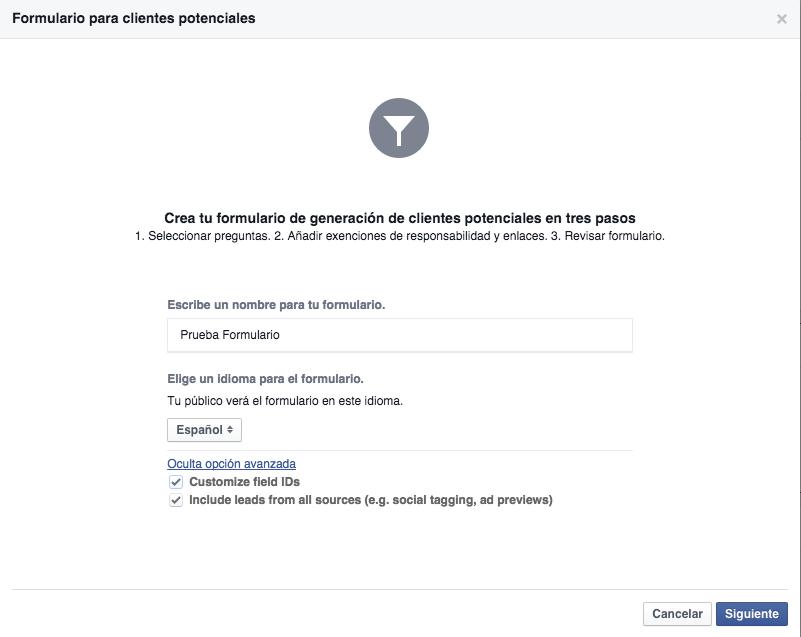 facebook formulario